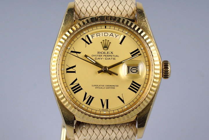 1977 Rolex YG Day Date1803 Matte Champagne Roman 'Buckley' Dial photo