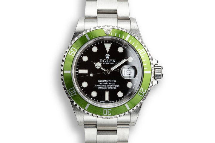 "2002 Rolex Anniversary Green Submariner 16610LV MK I Maxi Dial with Box and Papers ""Y Serial"" photo"