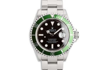 2009 Rolex Anniversary Green Submariner 16610LV with Box & Card photo
