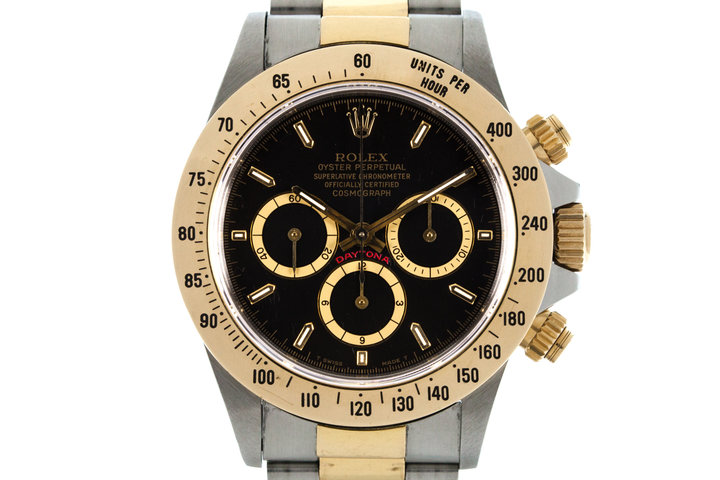 1989 Rolex Two Tone Zenith Daytona 16523 with Black Inverted 6 Dial photo