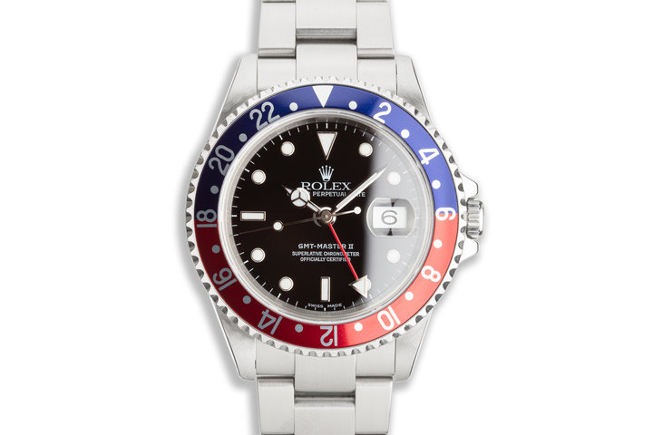"""2002 Rolex GMT-Master II 16710 """"Pepsi"""" Papers & Service Card photo"""