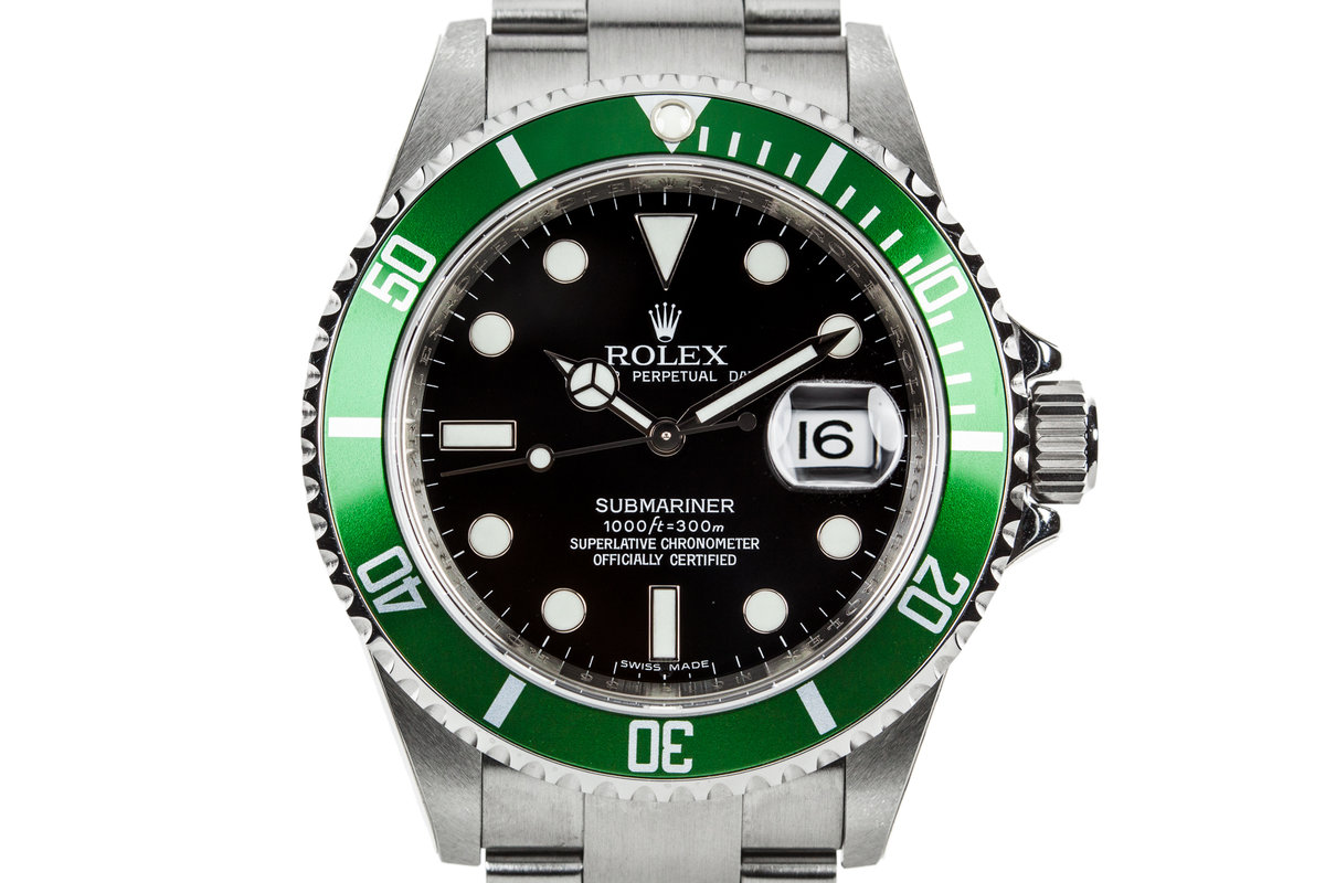 2007 Rolex Green Submariner 16610LV with Box and Papers photo, #0