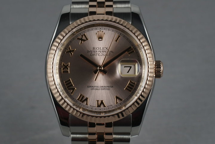 2011 Rolex Rose Gold & Stainless Steel Datejust 116231 with papers photo