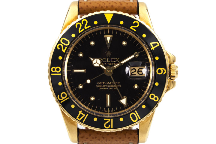 1970 Rolex 18K YG GMT 1675 Black Dial  photo