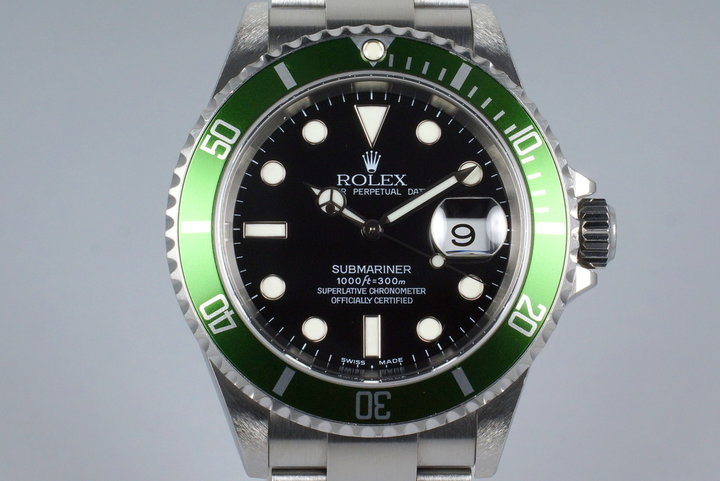 2004 Rolex Green Submariner 16610V with Box and Papers photo