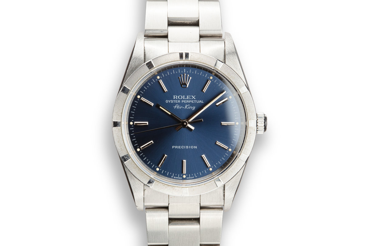 1997 Rolex Air-King 14010 Blue Dial with Box and Papers photo, #0