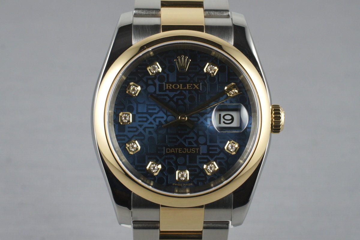 2005 Rolex Two Tone Datejust 116203 Factory Blue Diamond Dial with Box and Papers photo, #0