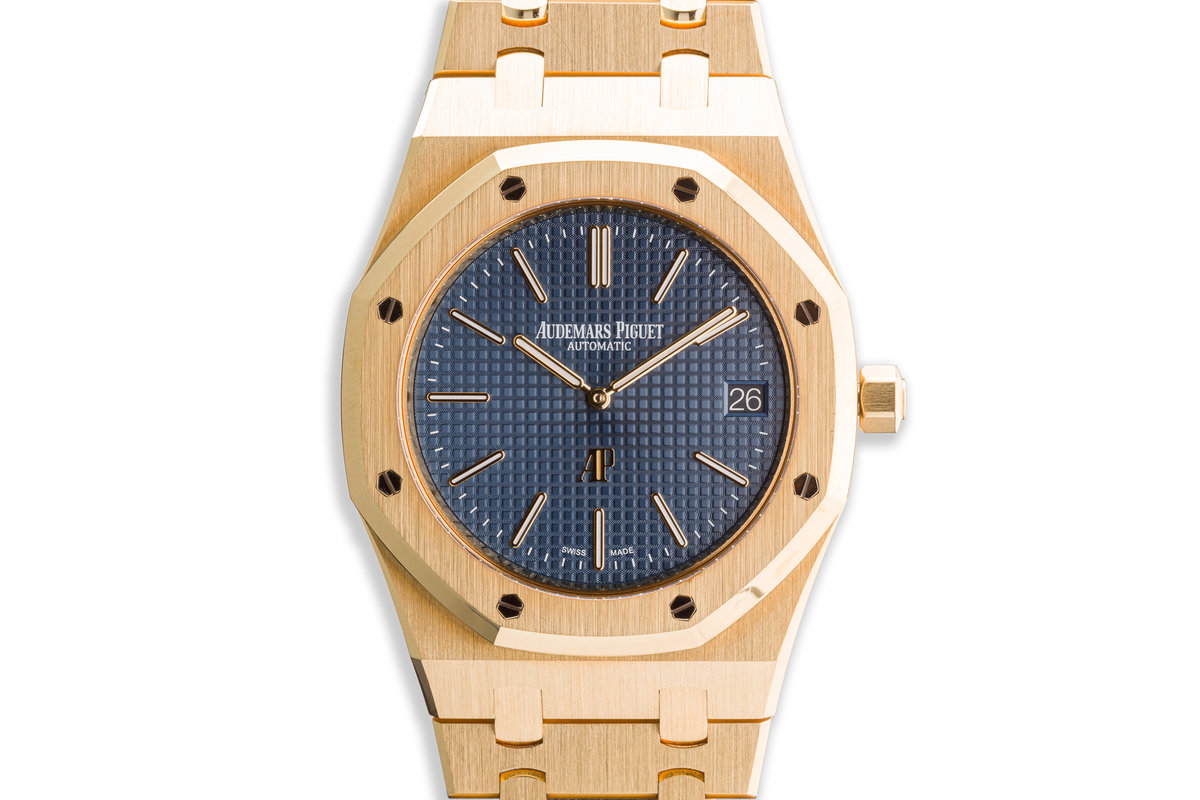 2017 Audemars Piguet Royal Oak Jumbo Extra Thin 15202BA.OO.1240BA.01.A Blue Dial with Box and Papers photo, #0
