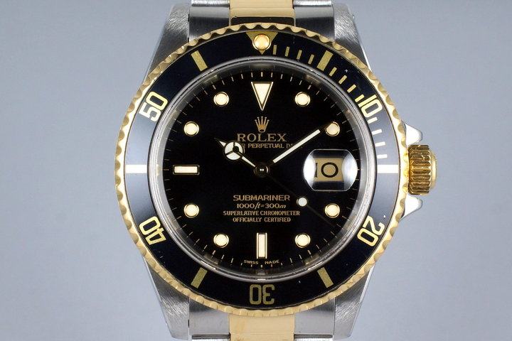 1991 Rolex Two Tone Black Submariner 16613 with Box and Papers photo