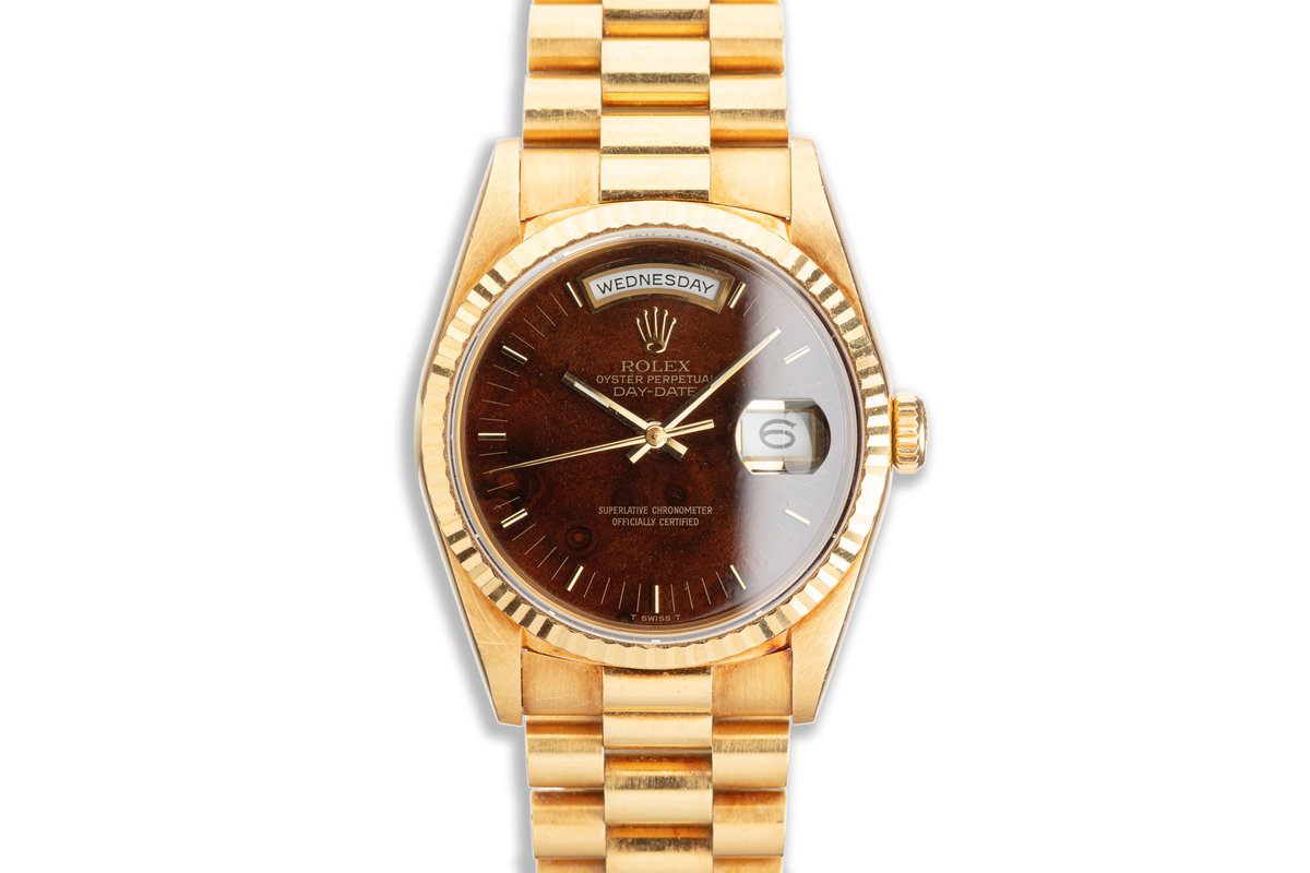 1990 Unpolished Rolex 18K YG Day-Date 18238 Burl Wood Dial with Box & Papers photo, #0