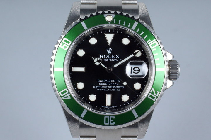 2009 Rolex Green Submariner 16610LV with Box and Papers MINT photo