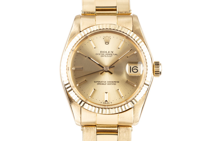 1979 Rolex 18K YG Midsize 31mm Datejust 6827 photo
