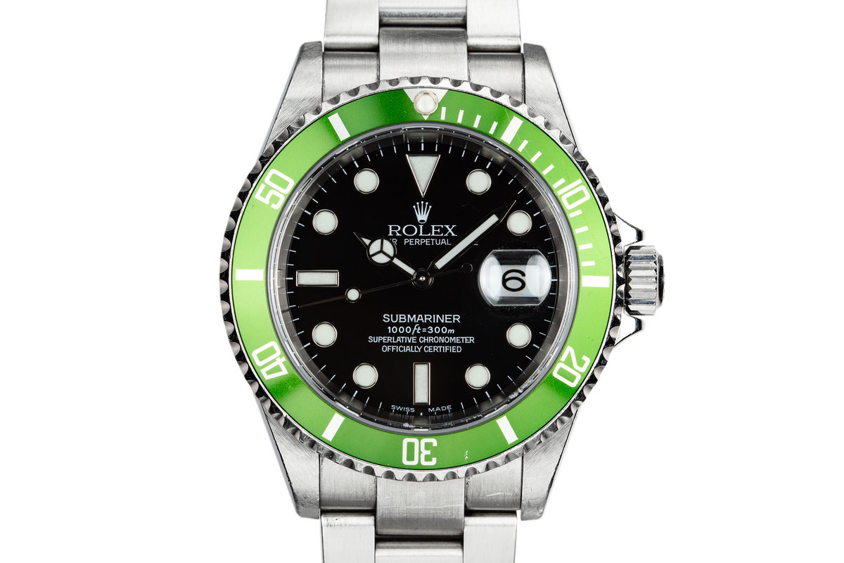 2003 Rolex Anniversary Green Submariner 16610LV Mark I Dial with Flat 4 Bezel photo, #0