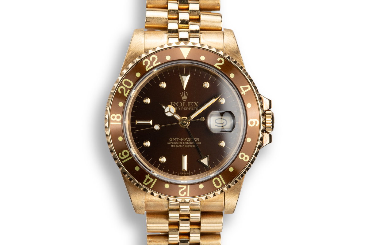 1984 Rolex 18K YG GMT-Master 16758 with Brown Nipple Dial photo, #0