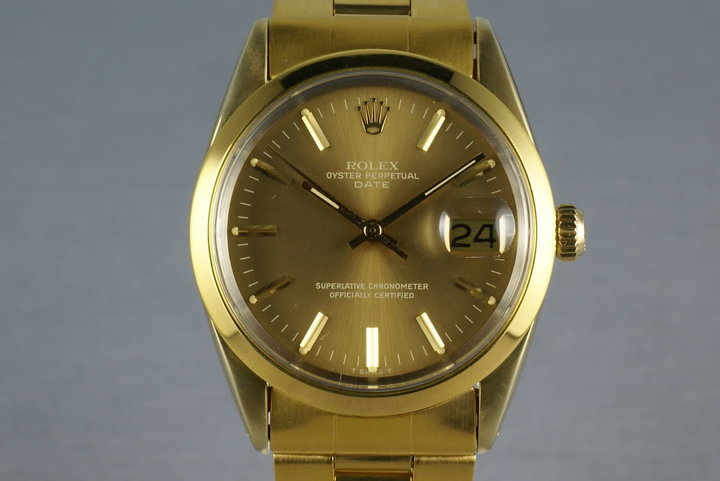 Rolex Date  1550 Gold cap ... box and papers photo