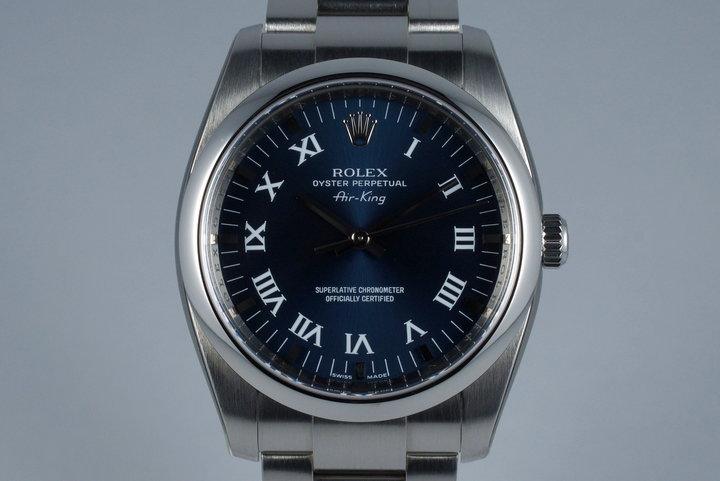 2006 Rolex Air King 114200 Blue Roman Dial photo
