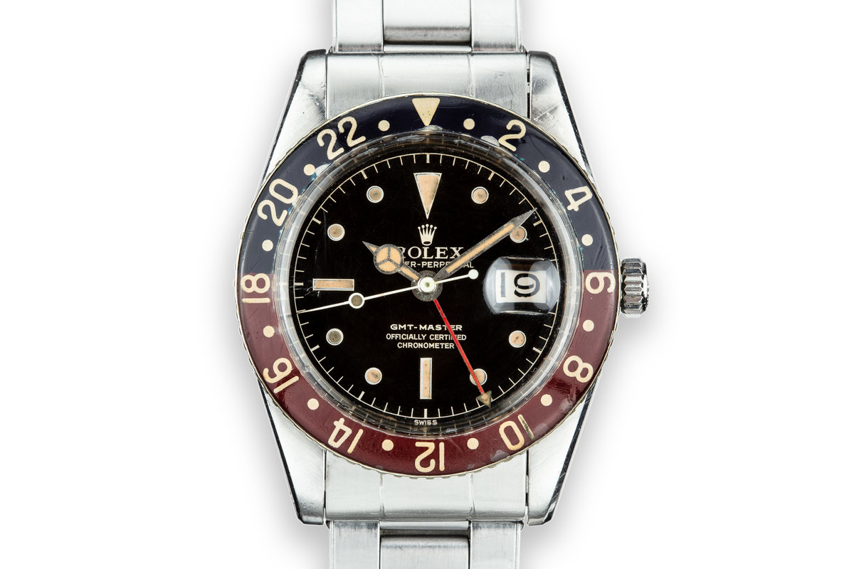 1958 Rolex GMT-Master 6542 Spidered Gilt Chapter Ring Dial with Bakelite Bezel Insert photo, #0