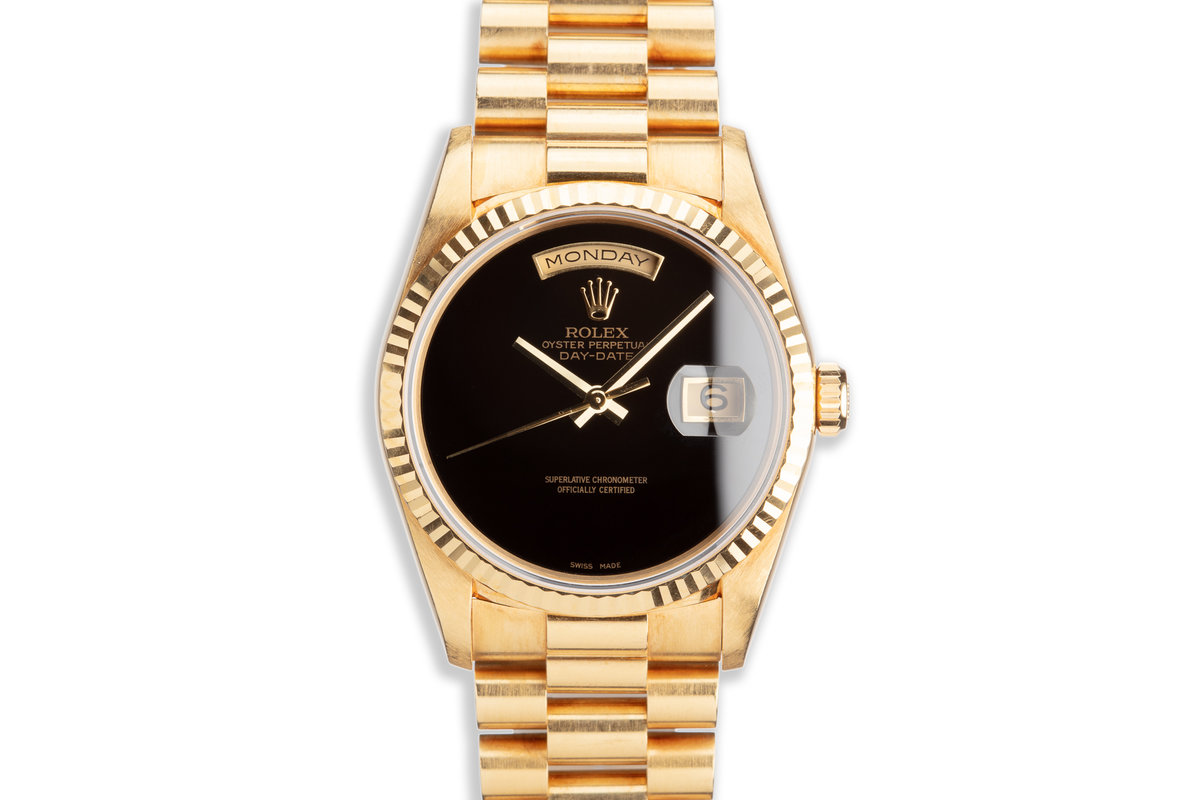 1995 Rolex 18K YG Day-Date 18238 Onyx Dial photo, #0