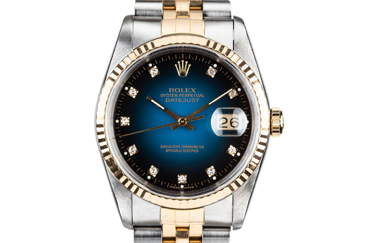 1990 Rolex Two Tone DateJust 16233 Blue Vingette Diamond Dial with Box and Papers photo