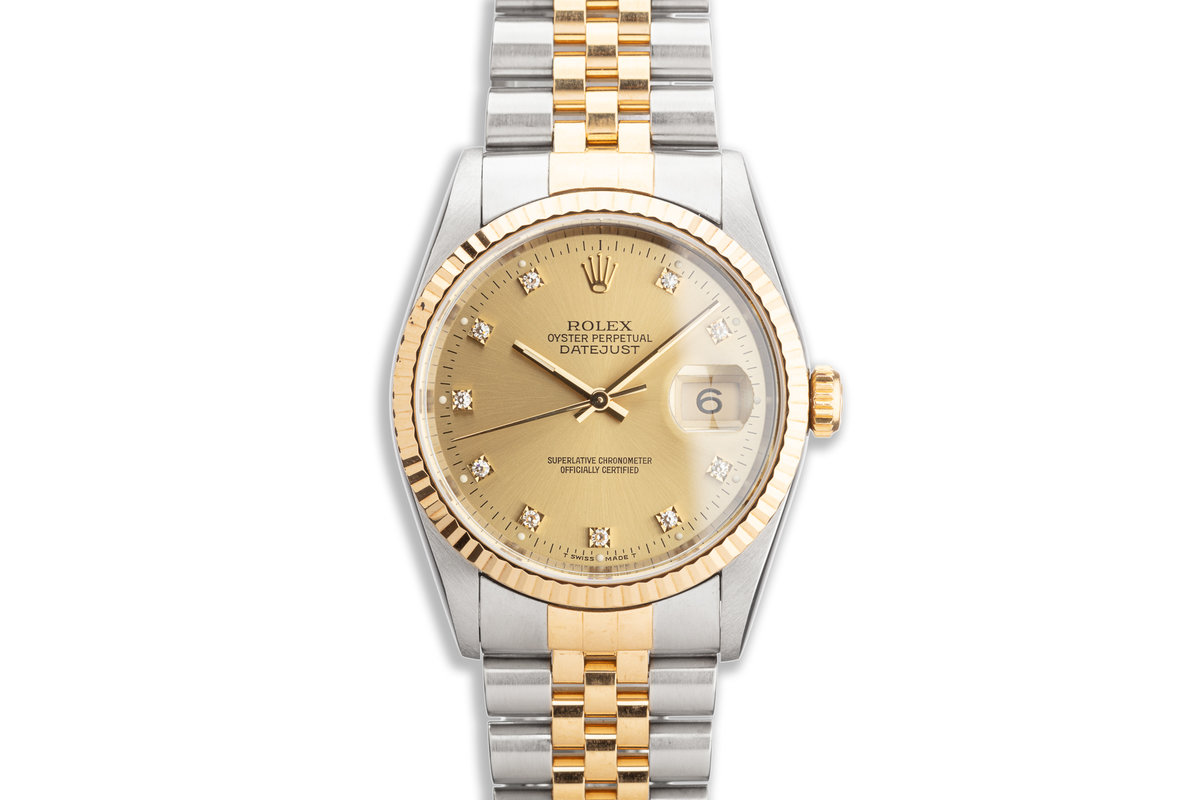 1993 Rolex Two-Tone DateJust 16233 Champagne Diamond Dial Box and Papers photo, #0