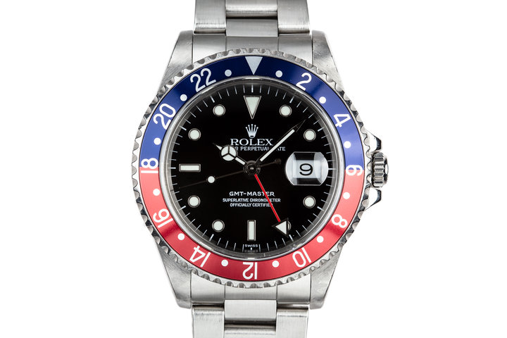 """1999 Rolex GMT-Master 16700 SWISS Only """"Pepsi"""" with Box and Papers photo"""