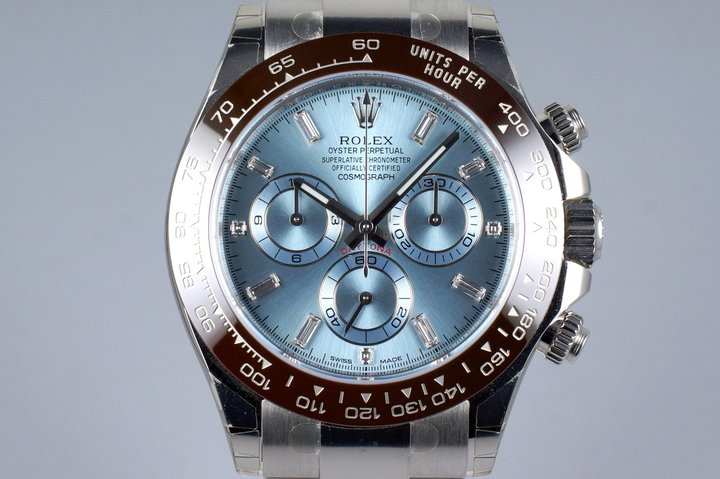 2016 Rolex Platinum Daytona 116506 Factory Glacier Blue Diamond Dial with Box and Papers photo