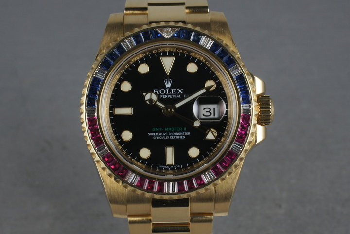"2006 Rolex GMT 18K Dial  116748 with factory Gem ""Patriot"" Bezel photo"