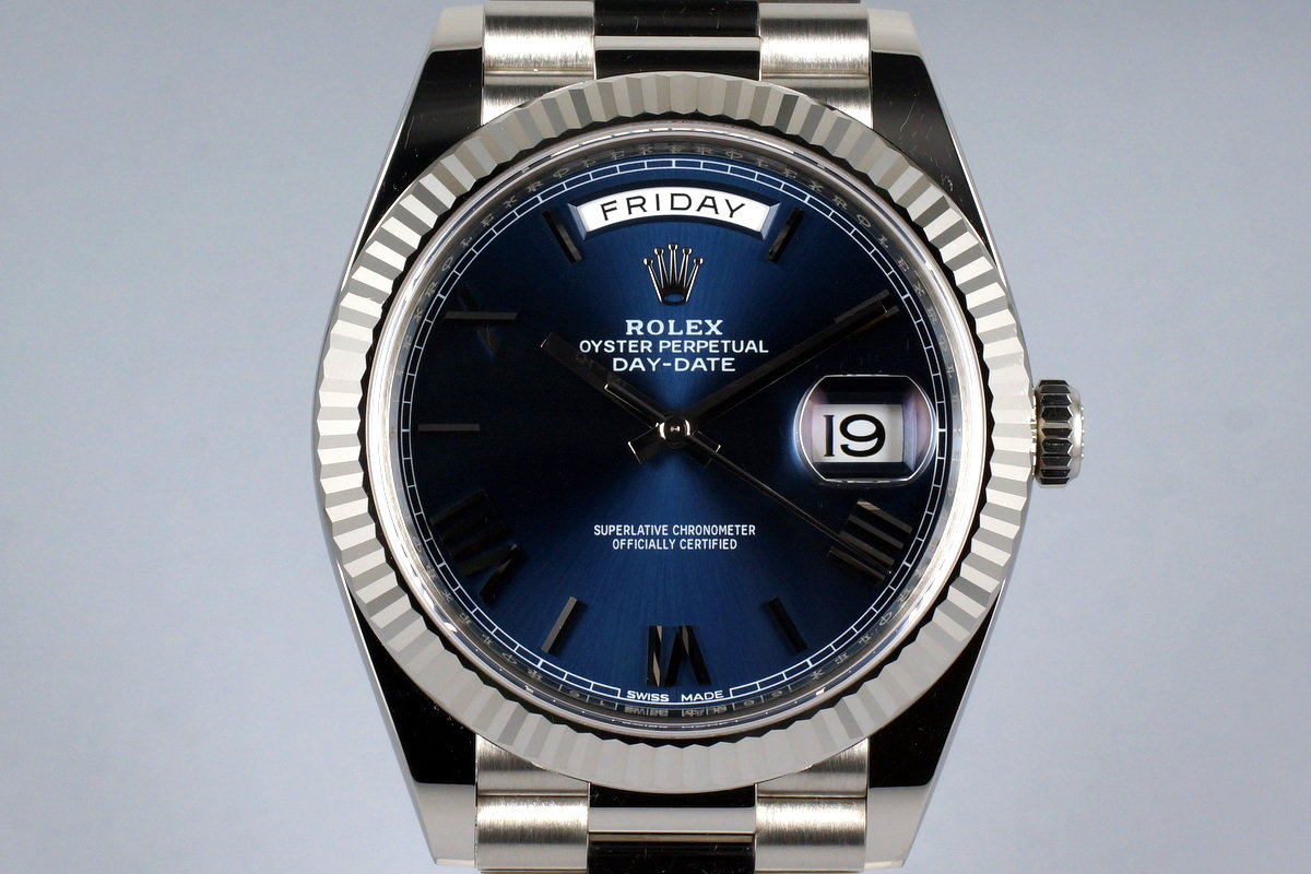 2015 Rolex WG Day-Date 228239 Blue Roman Dial with Box and Papers photo, #0