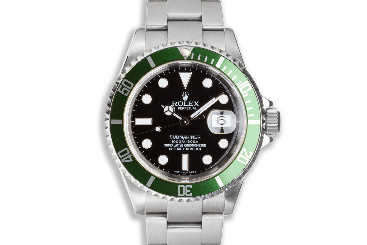 2007 Green Anniversary Rolex Submariner 16610LV with Box and Papers photo, #0