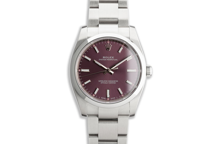 "2019 Oyster Perpetual 114200 ""Red Grape"" Dial with Box and Card photo"