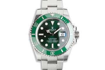 "2012 Unpolished Rolex Green Submariner 116610LV ""Hulk"" with Box & Card photo"