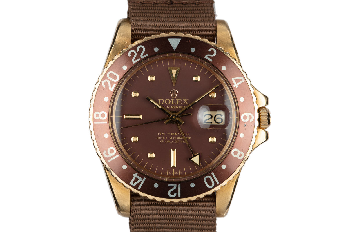 1967 18K YG Rolex GMT-Master 1675 with Brown Nipple Dial and Concorde Hands photo, #0