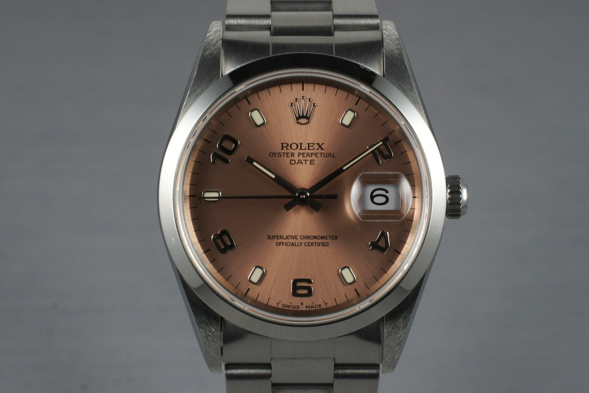 1995 Rolex Pink Arabic Dial Date 15200 with Box & Papers photo, #0