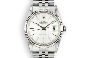 2001 Rolex DateJust 16234 with Silver Tapestry Dial photo
