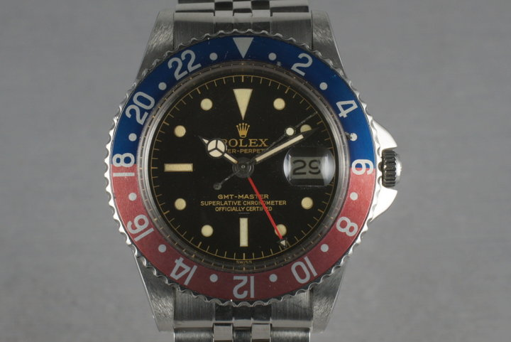 Rolex GMT 1675 PCG,gilt chapter ring Underline with Beverly Hills Service photo