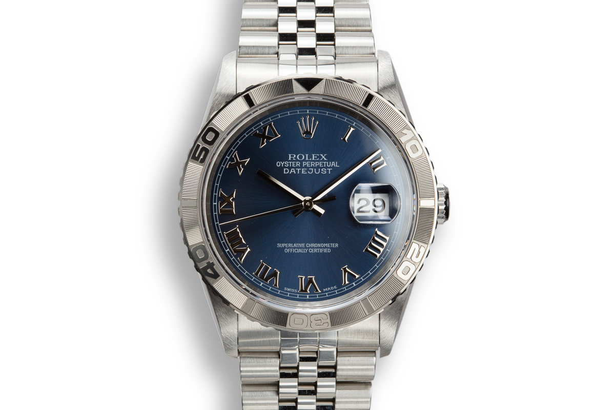 "1997 Rolex DateJust ""Thunderbird"" 16264 Blue No Lume Roman Numeral Dial with Box photo, #0"