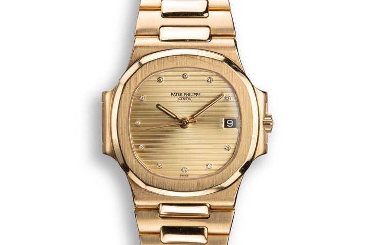 1985 18K YG Patek Philippe Nautilus 3800 with SWISS Only Champagne Diamond Dial with Extract from the Archive Papers photo