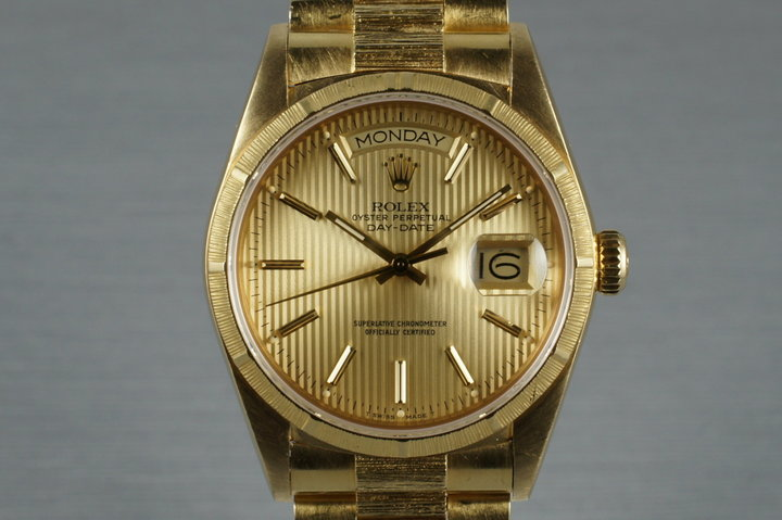 1986 Rolex 18K YG Bark Day-Date 18078 with Tapestry Dial photo