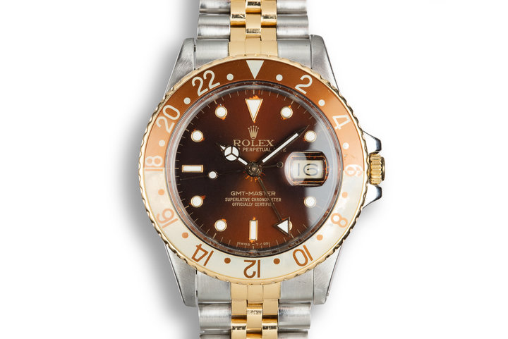 "1987 Rolex Two-Tone GMT-Master 16753 ""Electric Root Beer Wizard"" Dial with Service Papers photo"