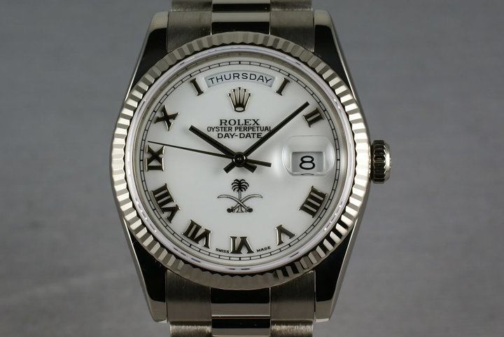 Rolex White Gold President 118239 with White Saudi Palm Tree and Sword Dial photo