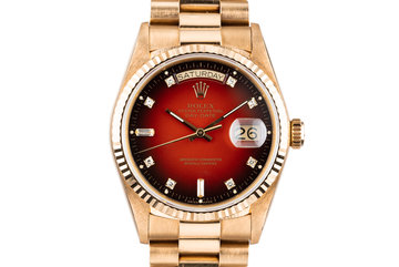1987 Rolex 18K Day-Date 18038 with Red Diamond Vignette Dial photo