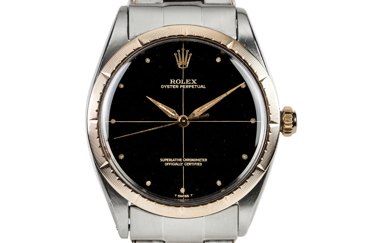 1966 Rolex Two Tone Oyster Perpetual 1008 With Gilt Zephyr Dial and Bezel and Box and Papers photo, #0