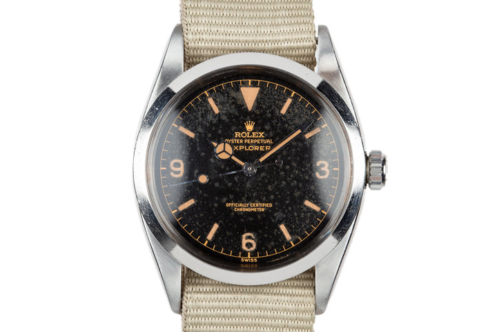 "1957 Rolex Explorer 6610 Gilt Dial with ""Night Sky"" Patina with Box Service Papers photo"