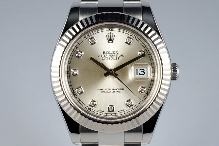 2009 Rolex Datejust II 116334 Factory Silver Diamond Dial with Box and Papers photo