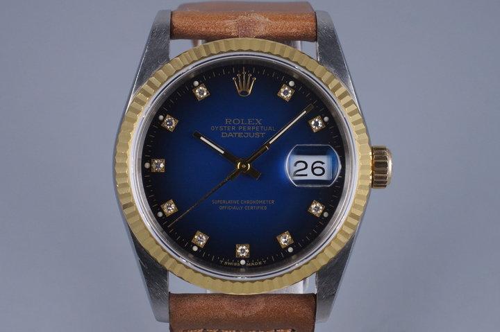 1988 Rolex Two Tone DateJust 16233 Factory Blue Vignette Diamond Dial photo