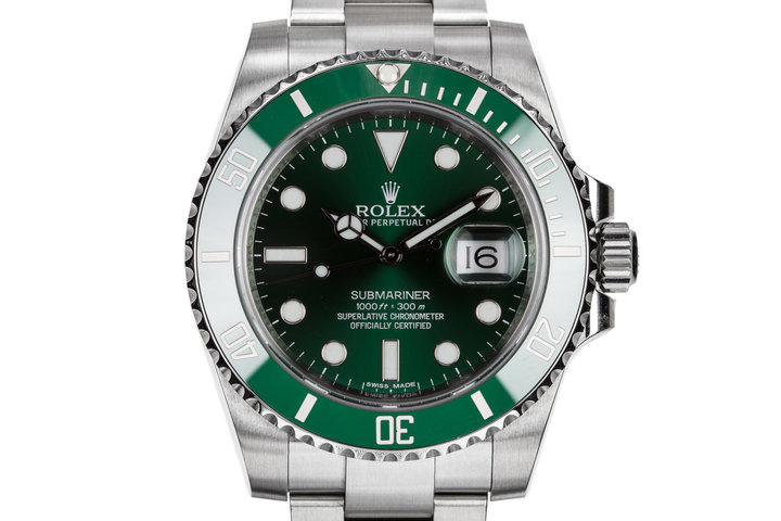 "2014 Rolex Green Ceramic Submariner 116610LV ""Hulk"" with Box and Papers photo"