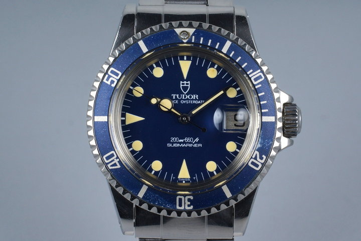 1985 Tudor Blue Submariner 76100 Non-Mercedes Hand with Box and Papers photo