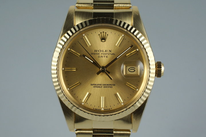 1987 Rolex 14K YG Date Ref: 15037 with Box and Papers photo