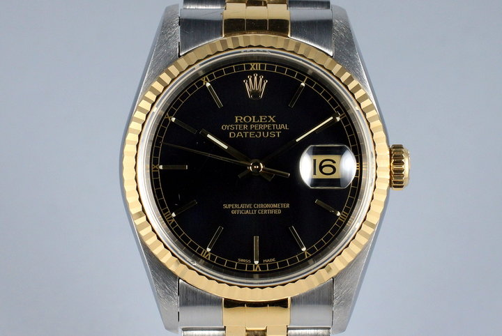 1994 Rolex Two Tone DateJust 16233 Glossy Black Dial photo