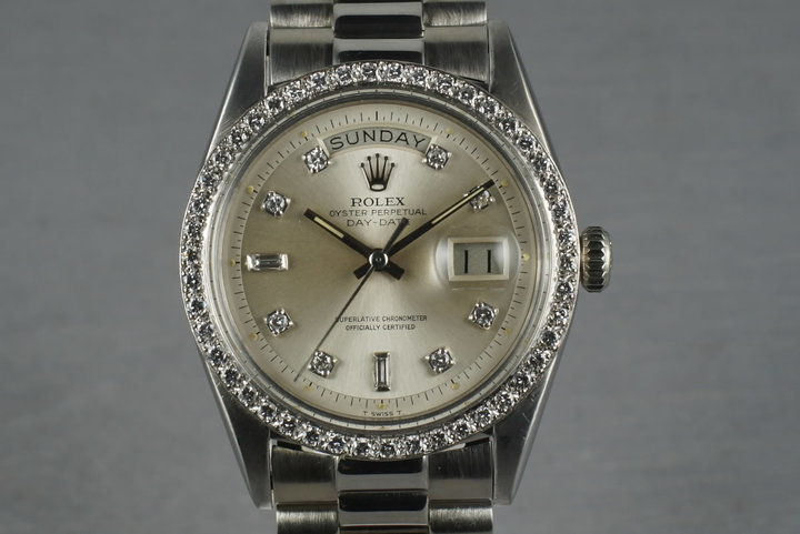 Rolex Vintage 18K White Gold  Day Date 1803 Factory Diamond Dial and Bezel photo